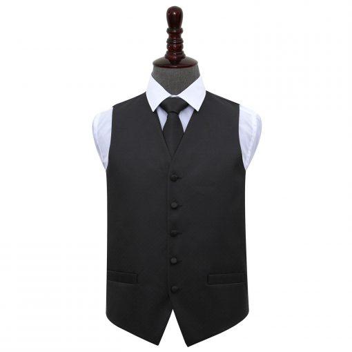 Black Greek Key Wedding Waistcoat & Tie Set