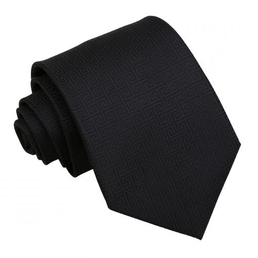 Black Greek Key Classic Tie