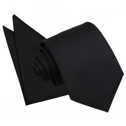 Black Greek Key Tie & Pocket Square Set