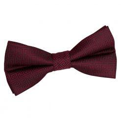 Burgundy Greek Key Pre-Tied Bow Tie
