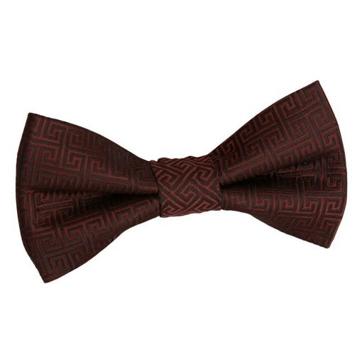 Burgundy Greek Key Pre-Tied Bow Tie for Boys