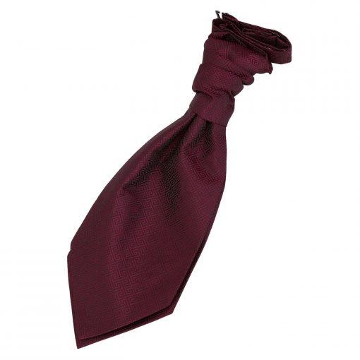 Burgundy Greek Key Pre-Tied Wedding Cravat for Boys