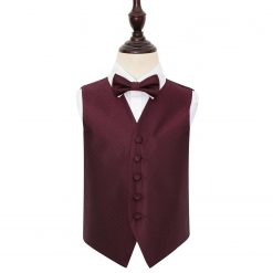 Burgundy Greek Key Wedding Waistcoat & Bow Tie Set for Boys