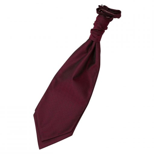Burgundy Greek Key Pre-Tied Wedding Cravat