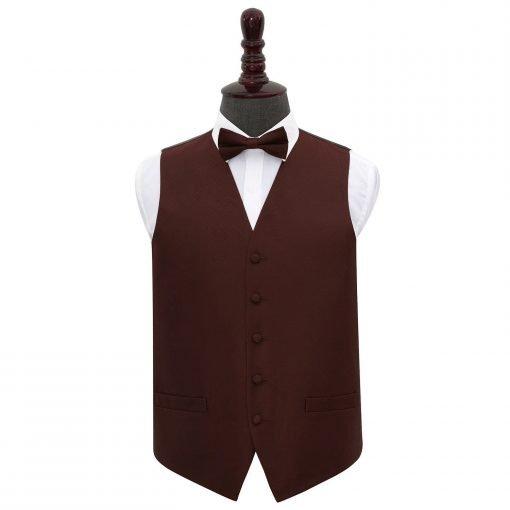 Burgundy Greek Key Wedding Waistcoat & Bow Tie Set