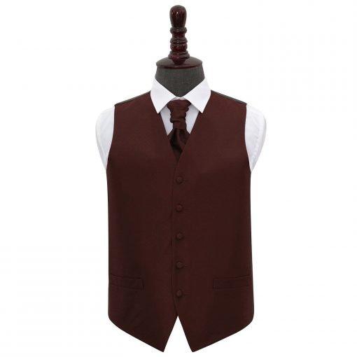 Burgundy Greek Key Wedding Waistcoat & Cravat Set
