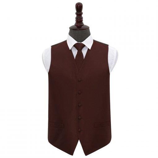 Burgundy Greek Key Wedding Waistcoat & Tie Set
