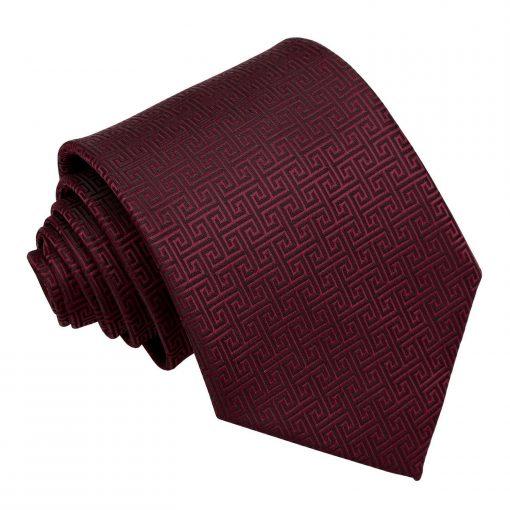Burgundy Greek Key Classic Tie