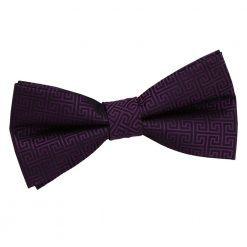 Cadbury Purple Greek Key Pre-Tied Bow Tie
