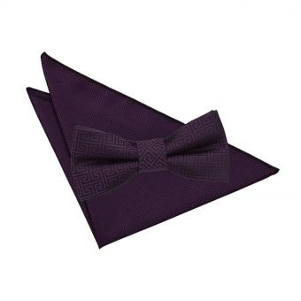 Cadbury Purple Greek Key Bow Tie & Pocket Square Set