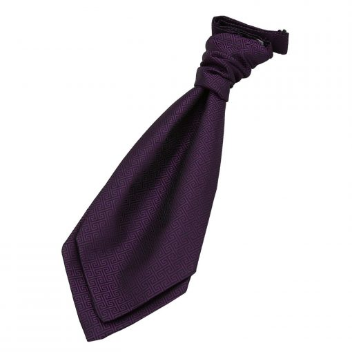 Cadbury Purple Greek Key Pre-Tied Wedding Cravat for Boys
