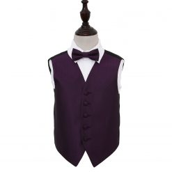 Cadbury Purple Greek Key Wedding Waistcoat & Bow Tie Set for Boys