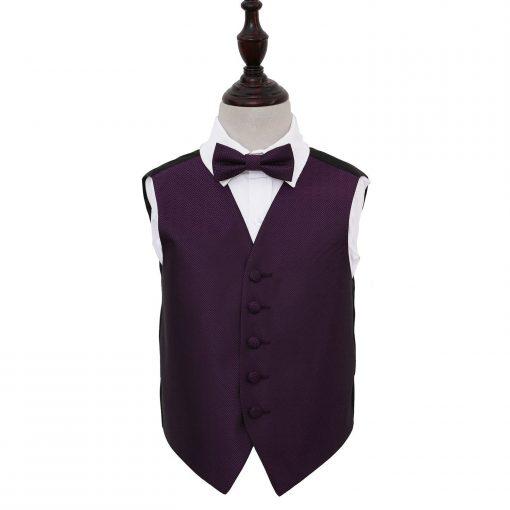 Cadbury Purple Greek Key Wedding Waistcoat & Bow Tie Set for Boys