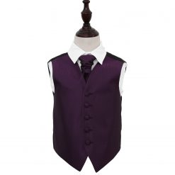 Cadbury Purple Greek Key Wedding Waistcoat & Cravat Set for Boys