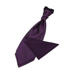Cadbury Purple Greek Key Wedding Cravat & Pocket Square Set