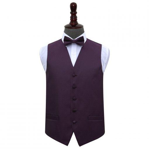 Cadbury Purple Greek Key Wedding Waistcoat & Bow Tie Set
