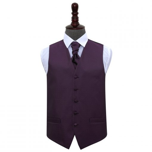 Cadbury Purple Greek Key Wedding Waistcoat & Cravat Set