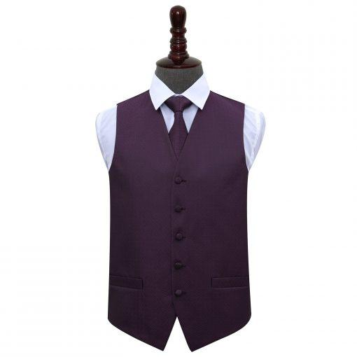 Cadbury Purple Greek Key Wedding Waistcoat & Tie Set