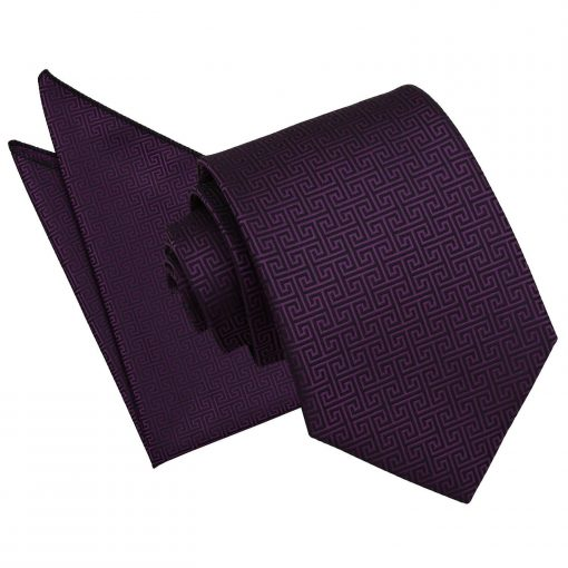 Cadbury Purple Greek Key Tie & Pocket Square Set