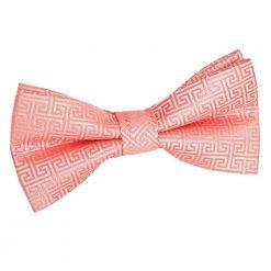 Coral Greek Key Pre-Tied Bow Tie