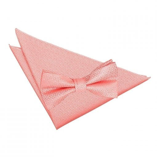 Coral Greek Key Bow Tie & Pocket Square Set