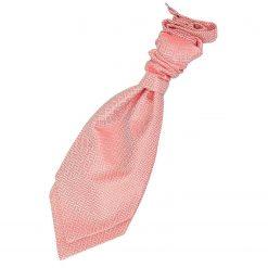 Coral Greek Key Pre-Tied Wedding Cravat for Boys