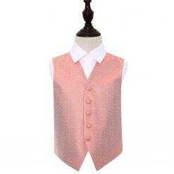 Coral Greek Key Wedding Waistcoat for Boys