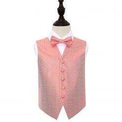 Coral Greek Key Wedding Waistcoat & Bow Tie Set for Boys