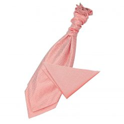Coral Greek Key Wedding Cravat & Pocket Square Set