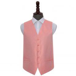 Coral Greek Key Wedding Waistcoat