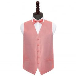 Coral Greek Key Wedding Waistcoat & Bow Tie Set