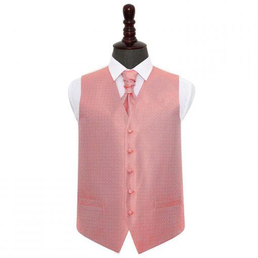 Coral Greek Key Wedding Waistcoat & Cravat Set