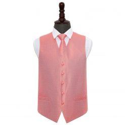 Coral Greek Key Wedding Waistcoat & Tie Set