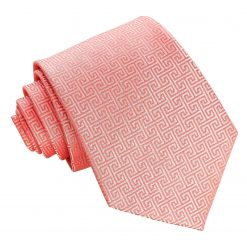 Coral Greek Key Classic Tie