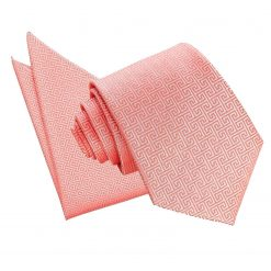 Coral Greek Key Tie & Pocket Square Set