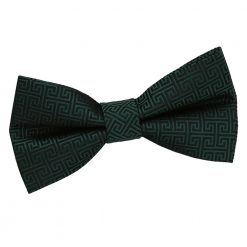 Dark Green Greek Key Pre-Tied Bow Tie