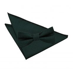 Dark Green Greek Key Bow Tie & Pocket Square Set