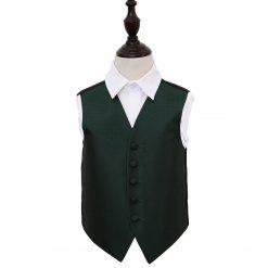 Dark Green Greek Key Wedding Waistcoat for Boys