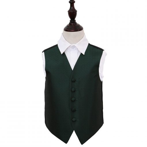 Dark Green Greek Key Wedding Waistcoat for Boys