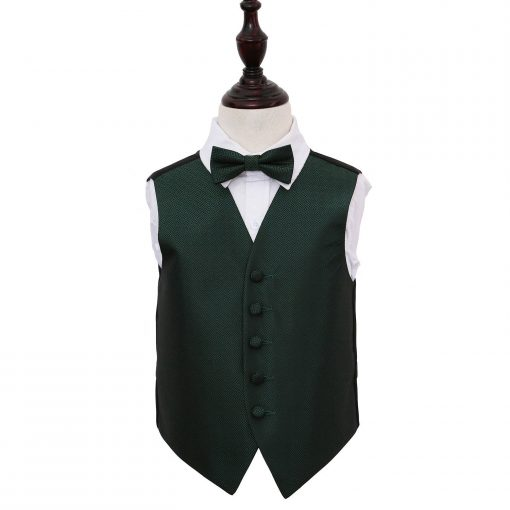 Dark Green Greek Key Wedding Waistcoat & Bow Tie Set for Boys
