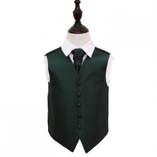 Dark Green Greek Key Wedding Waistcoat & Cravat Set for Boys