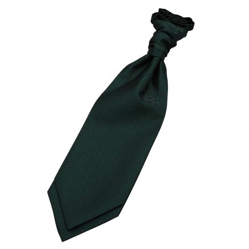 Dark Green Greek Key Pre-Tied Wedding Cravat