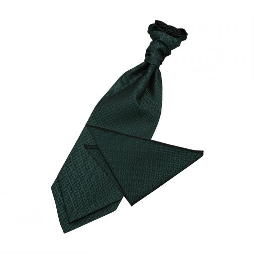 Dark Green Greek Key Wedding Cravat & Pocket Square Set