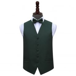 Dark Green Greek Key Wedding Waistcoat & Bow Tie Set