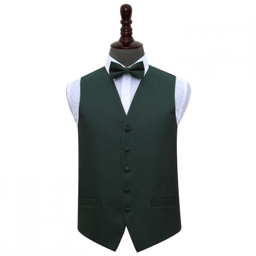 Dark Green Greek Key Wedding Waistcoat & Bow Tie Set