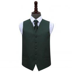 Dark Green Greek Key Wedding Waistcoat & Cravat Set