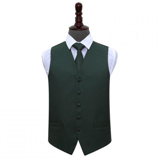 Dark Green Greek Key Wedding Waistcoat & Tie Set