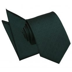 Dark Green Greek Key Tie & Pocket Square Set