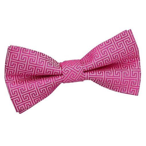 Fuchsia Pink Greek Key Pre-Tied Bow Tie