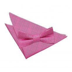 Fuchsia Pink Greek Key Bow Tie & Pocket Square Set
